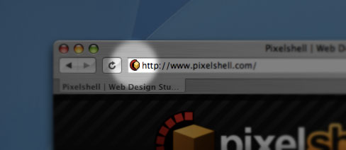 Pixelshell favicon in the Safari browser
