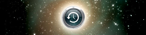 Time machine icon in space