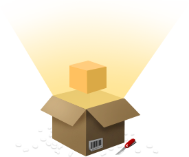 Illustration of a cardboard box being unpacked, with glowing light radiating from inside